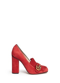Gucci'Marmont' kiltie fringe suede loafer pumps