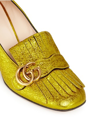 Detail View - Click To Enlarge - Gucci - Kiltie fringe metallic leather loafer pumps