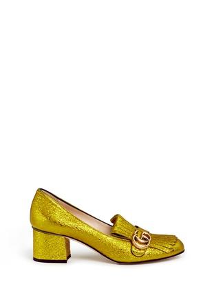 Gucci-Kiltie fringe metallic leather loafer pumps