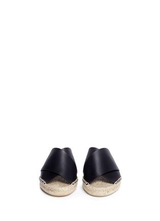 Front View - Click To Enlarge - Vince - 'Castel' cross strap leather espadrille slide sandals