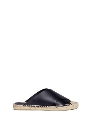 Main View - Click To Enlarge - Vince - 'Castel' cross strap leather espadrille slide sandals