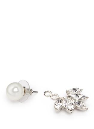 Detail View - Click To Enlarge - Kenneth Jay Lane - Pearl stud crystal jacket earrings