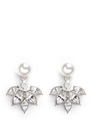 Main View - Click To Enlarge - Kenneth Jay Lane - Pearl stud crystal jacket earrings