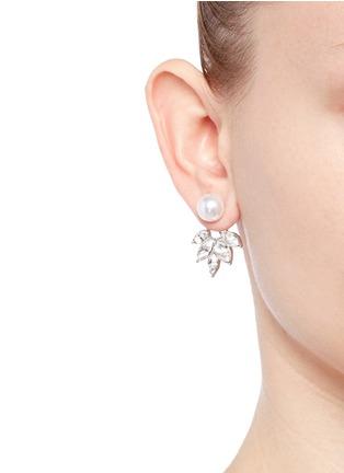 Figure View - Click To Enlarge - Kenneth Jay Lane - Pearl stud crystal jacket earrings