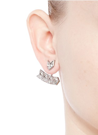 Figure View - Click To Enlarge - Kenneth Jay Lane - Crystal pavé arrow jacket earrings