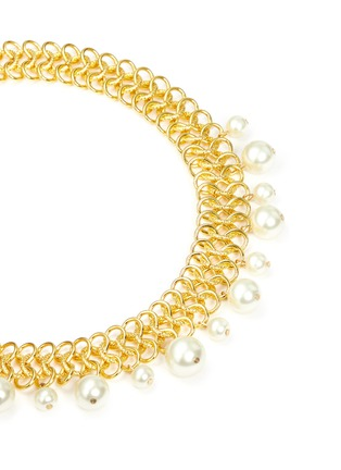 Detail View - Click To Enlarge - Kenneth Jay Lane - Glass pearl drop interlocked chain necklace