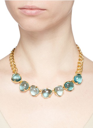 Kenneth Jay Lane - Teardrop cabochon gold plated necklace