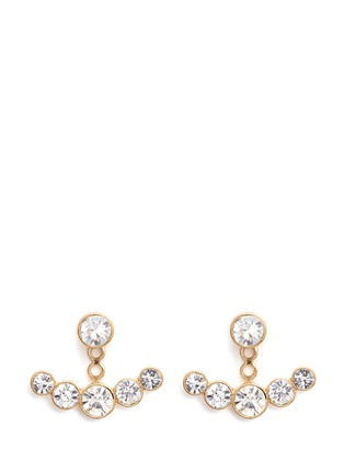 Kenneth Jay Lane - Glass crystal jacket gold plated earrings