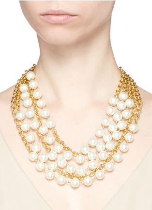 Kenneth Jay Lane - Multi chain glass pearl necklace