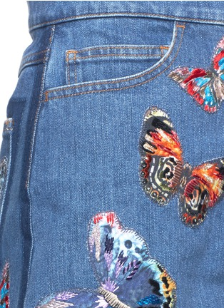 Detail View - Click To Enlarge - Valentino - Butterfly embroidery denim overalls