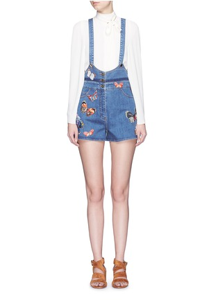 Main View - Click To Enlarge - Valentino - Butterfly embroidery denim overalls