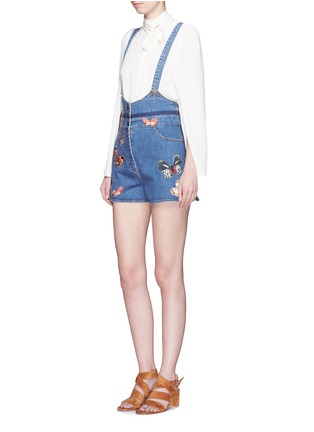 Figure View - Click To Enlarge - Valentino - Butterfly embroidery denim overalls