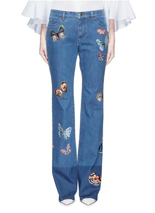 Detail View - Click To Enlarge - Valentino - Butterfly embroidery patch straight leg jeans