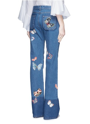 Back View - Click To Enlarge - Valentino - Butterfly embroidery patch straight leg jeans