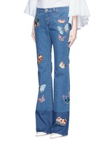 Butterfly embroidery patch straight leg jeans