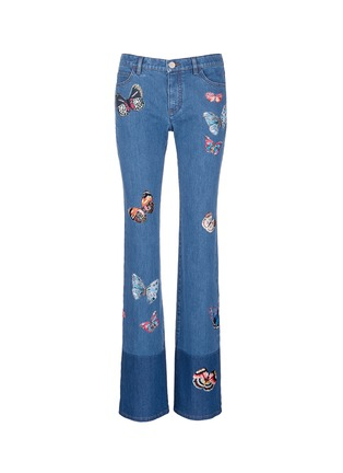 Main View - Click To Enlarge - Valentino - Butterfly embroidery patch straight leg jeans