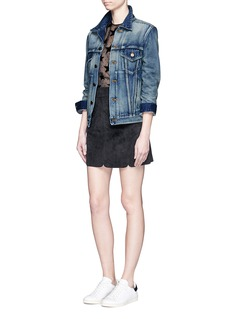 SAINT LAURENT Stud back vintage wash denim jacket