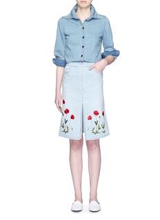 STELLA MCCARTNEYFloral embroidery denim skirt