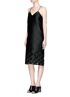 PRINGLE OF SCOTLANDDiamond fil coupé leather cord eyelet dress