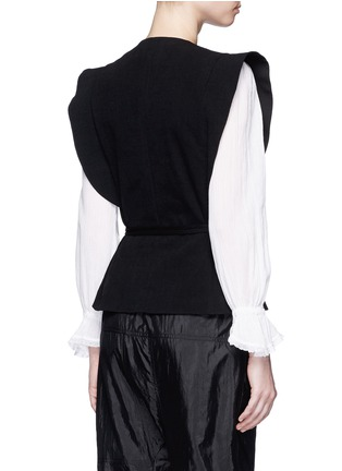 Back View - Click To Enlarge - Isabel Marant - 'Fauna' asymmetric drape waffle knit wrap top