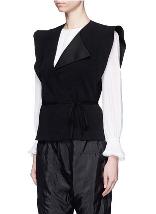 Front View - Click To Enlarge - Isabel Marant - 'Fauna' asymmetric drape waffle knit wrap top