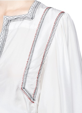 Detail View - Click To Enlarge - Isabel Marant - 'Lisa' embroidered wrap front silk top