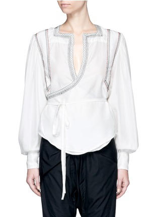 Main View - Click To Enlarge - Isabel Marant - 'Lisa' embroidered wrap front silk top