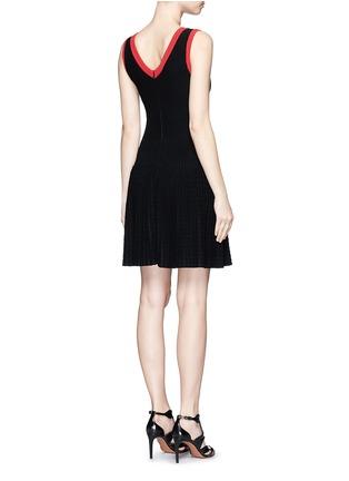 Back View - Click To Enlarge - Alaïa - 'Tango' stripe panel knit dress