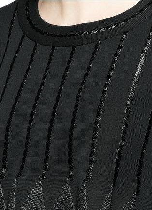 Detail View - Click To Enlarge - Alaïa - 'Rapa Nui' raffia fringe knit top