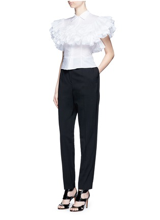 Figure View - Click To Enlarge - Alaïa - Ruffle cotton voile shirt