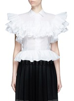 Ruffle cotton voile peplum shirt