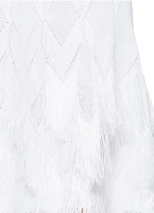 Detail View - Click To Enlarge - Alaïa - 'Rapa Nui' raffia fringe knit dress