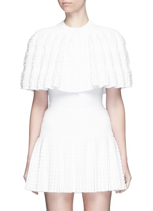 Azzedine Alaïa-'Marquises' ruffle trim dot jacquard cropped cape