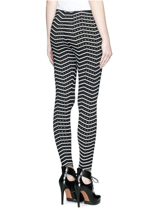 Back View - Click To Enlarge - Alaïa - 'Fidji' bicolour perforated zigzag knit leggings