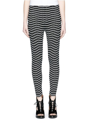 Main View - Click To Enlarge - Alaïa - 'Fidji' bicolour perforated zigzag knit leggings