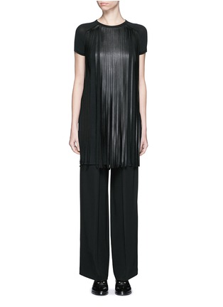 Main View - Click To Enlarge - Neil Barrett - Fringe eco leather stretch jersey T-shirt