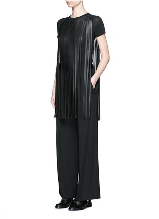 Figure View - Click To Enlarge - Neil Barrett - Fringe eco leather stretch jersey T-shirt