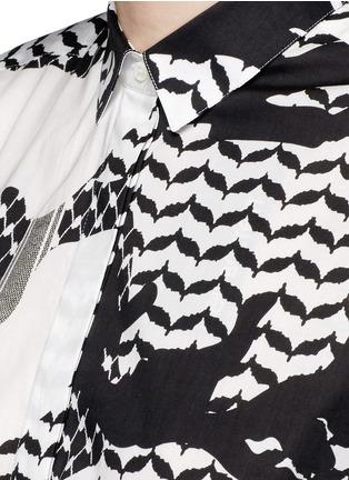 细节 - 点击放大 - NEIL BARRETT - 宽松几何叶纹府绸衬衫