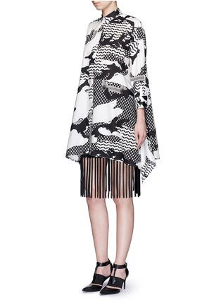 模特儿示范图 - 点击放大 - NEIL BARRETT - 宽松几何叶纹府绸衬衫