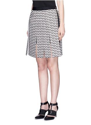 Front View - Click To Enlarge - Neil Barrett - Keffiyeh wave fringe panel A-line skirt