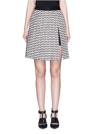 Main View - Click To Enlarge - Neil Barrett - Keffiyeh wave fringe panel A-line skirt