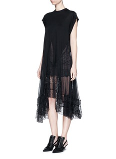 GIVENCHY Asymmetric silk hem jersey dress