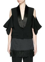 Satin shawl lapel cold shoulder jacket
