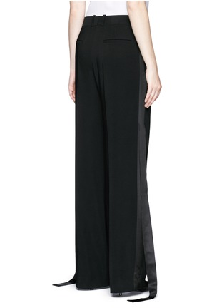 Back View - Click To Enlarge - Givenchy - Satin tuxedo stripe wide leg pants