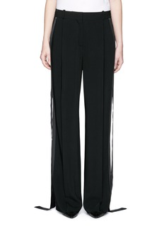 GivenchySatin tuxedo stripe wide leg pants