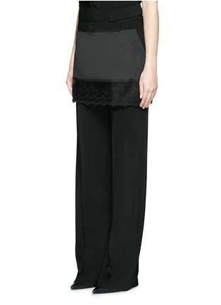 Front View - Click To Enlarge - Givenchy - Lace trim apron cady wide leg pants