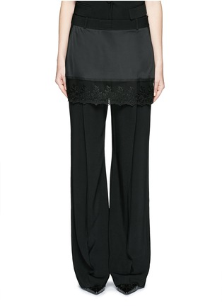 Main View - Click To Enlarge - Givenchy - Lace trim apron cady wide leg pants