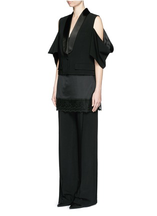 Figure View - Click To Enlarge - Givenchy - Lace trim apron cady wide leg pants