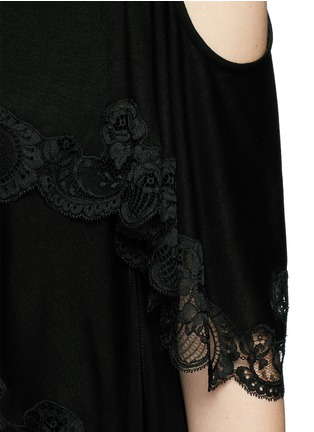 Detail View - Click To Enlarge - Givenchy Beauty - Open back lace trim asymmetric hem top