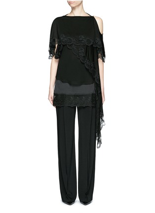 Main View - Click To Enlarge - Givenchy Beauty - Open back lace trim asymmetric hem top